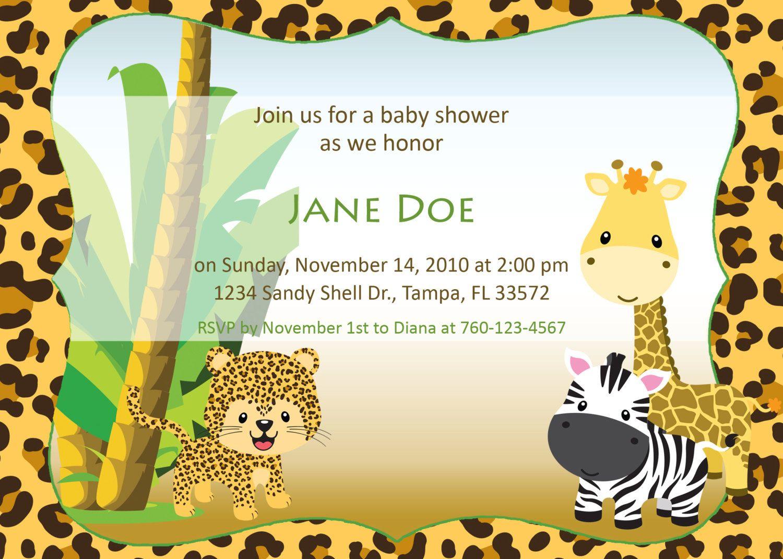 20 jungle baby shower invitation wording graha invitations animal
