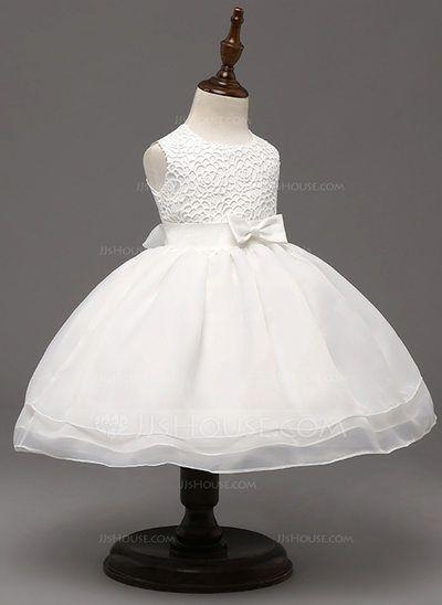 A-Line/Princess Scoop Neck Knee-length Bow(s) Tulle Polyester Sleeveless Flower Girl Dress Flower Girl Dress