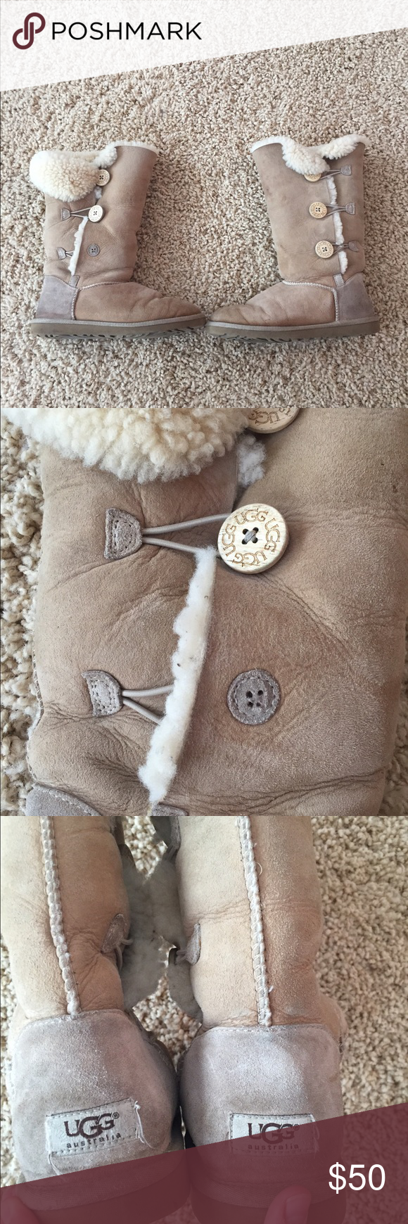 Ugg Bailey button tall Worn. Missing button. UGG Shoes Winter & Rain Boots