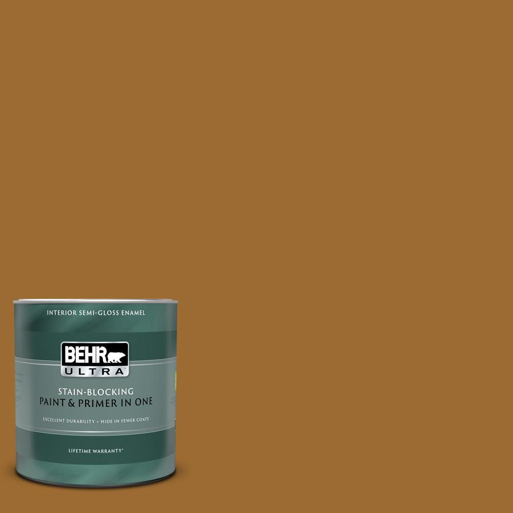 Behr Ultra 1 Qt Ul160 1 Curry Powder Semi Gloss Enamel Interior Paint And Primer In One Interior Paint Behr Paint Primer