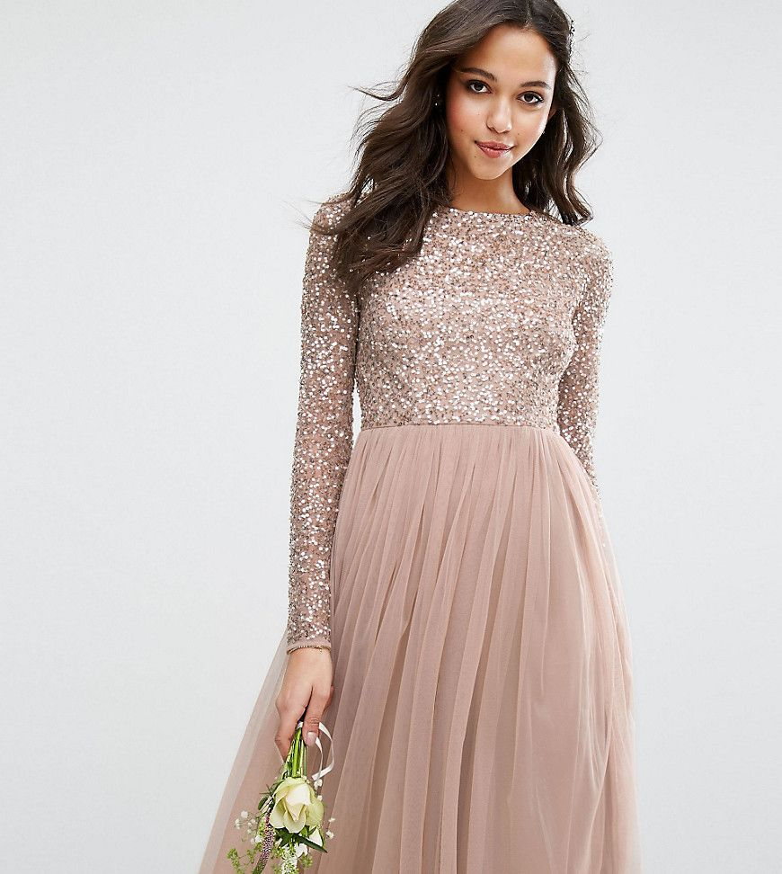 Maya Long Sleeved Midi Dress with Delicate Sequin and Tulle Skirt ...