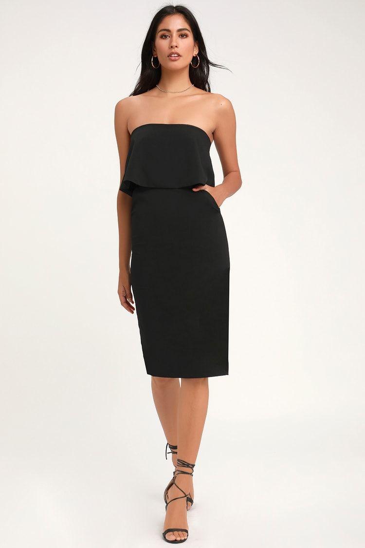 Lots Of Love Black Strapless Midi Dress Black Strapless Midi Dress Midi Dress Strapless Midi Dress [ 1125 x 750 Pixel ]