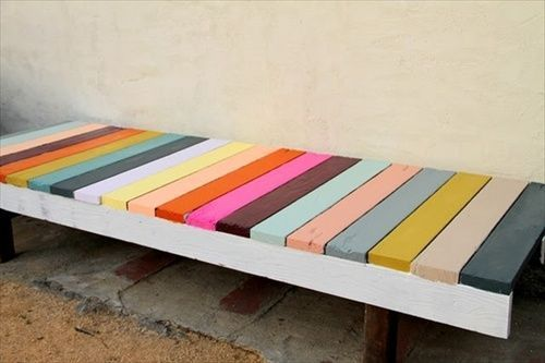 Colorful pallet bench; site with lots of pallet ideas