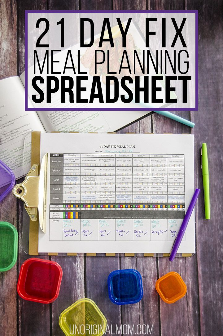 21 Day Fix Meal Plan Spreadsheet 21 day fix meal plan