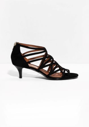 Other Stories Strappy Kitten Heel Sandals Black Kitten Heel Sandals Kitten Heel Shoes Black Sandals Heels