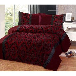 red and black damask silk comforter