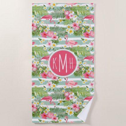 Add Your Monogram Flamingos And Stripes Beach Towel Zazzle Com