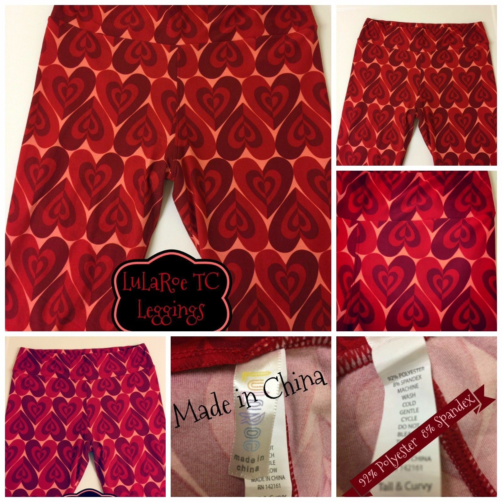 d87f80fa696461 #ValentinesDay Valentine's LuLaRoe TC Leggings Red Hearts & Pink Background  #ValentinesDay