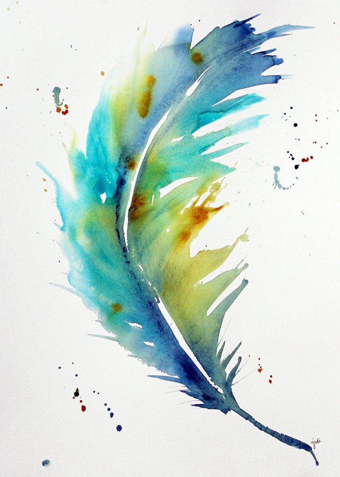 Blue Feather Large 16 X 20 Watercolor On Fabriano Artistico 300 Lb