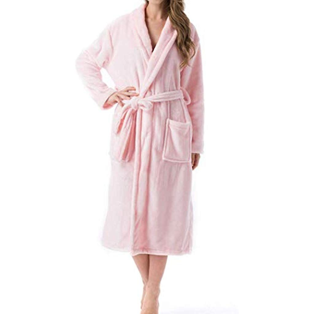 TOYIS Womens Flannel Soft Robes Cosy Bathrobe Fluffy Hooded Housecoat #Fitness #Yoga #Clothing #Wome...