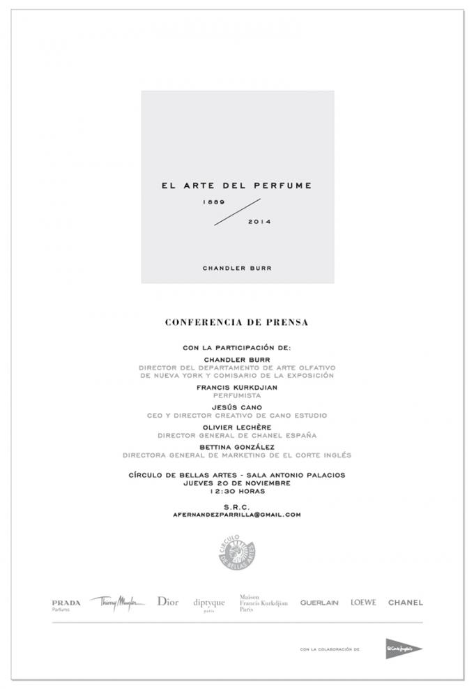 Cartel. El Arte del Perfume 1889 - 2014. Cortesía de Cano Estudio.