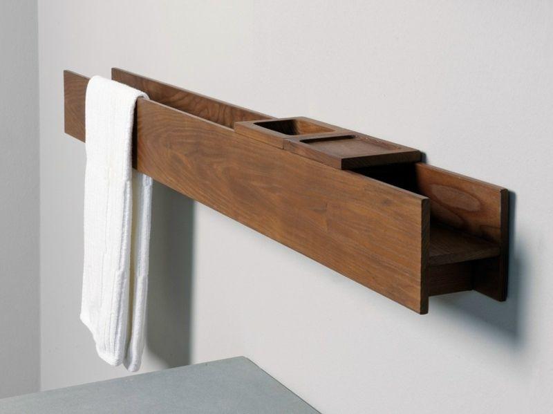 Für Eine Besonders Angenehme Atmosphäre Sorgen Handtuchhalter Aus Holz, Mit  Denen Sie Andere Holzdekorationen Im Bad Erweitern Können. Statt Eines  Designer