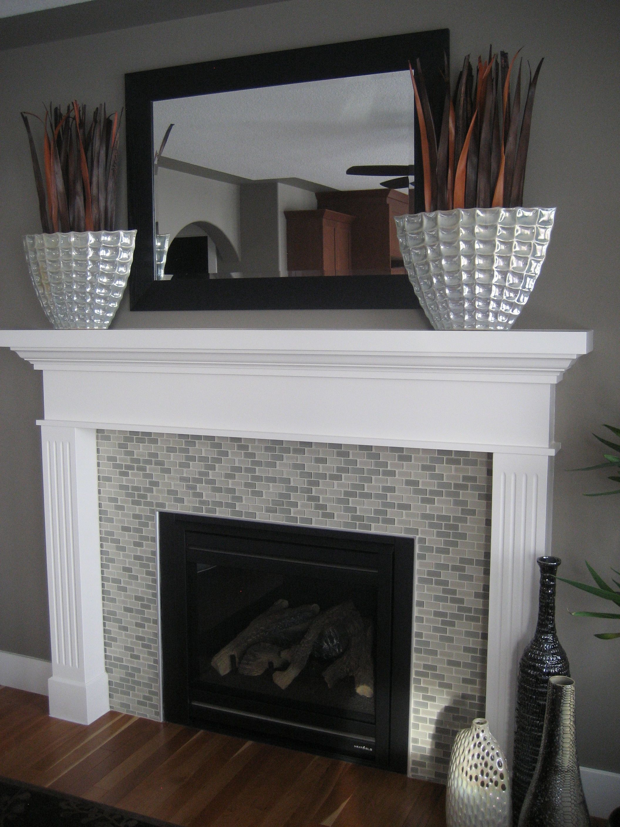 Diy Fireplace Decorations I Purchased Two Large Vases At Home