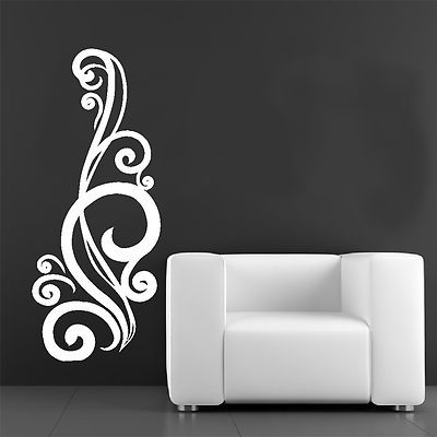 Tall Floral Patterned Wall Art Sticker Decal Home Design