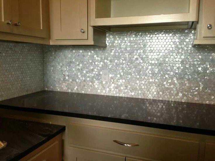 Nice White Pearl Backsplash Part - 9: White Glass Backsplash With Dark Grey Counters - Google Search