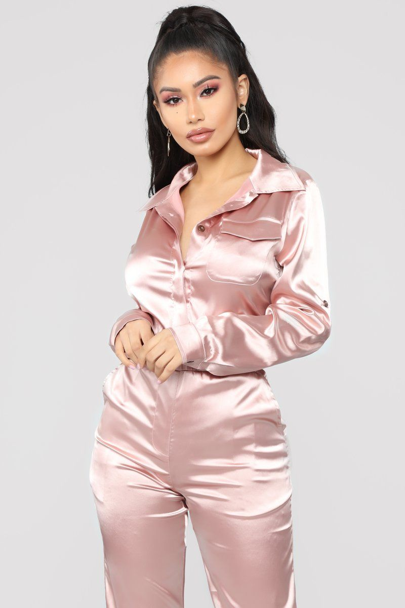 e9fa7921225 Satin Honey Jumpsuit - Dusty Pink
