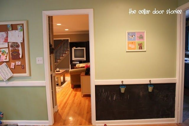 chalkboard wall with chalk buckets--such a cute idea for a house ...