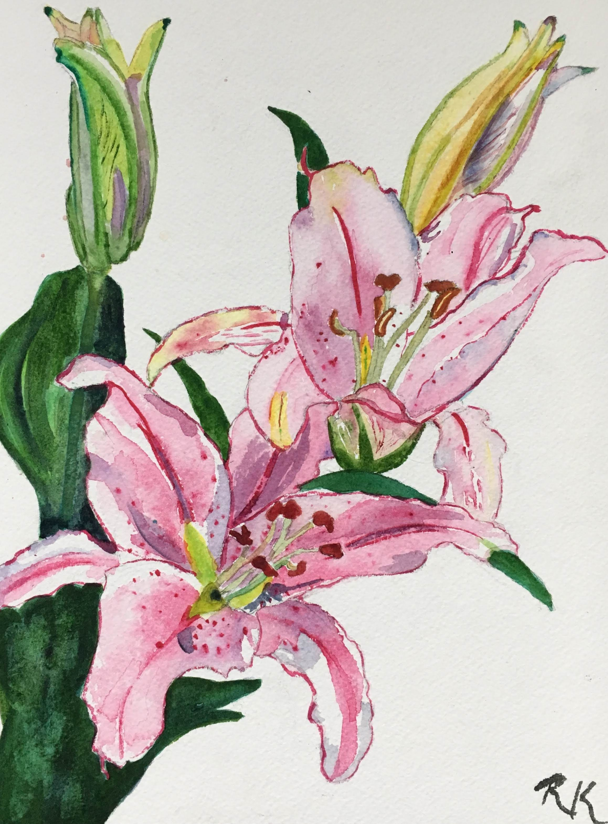 Lilies Flower Art Painting Flower Painting Floral Painting