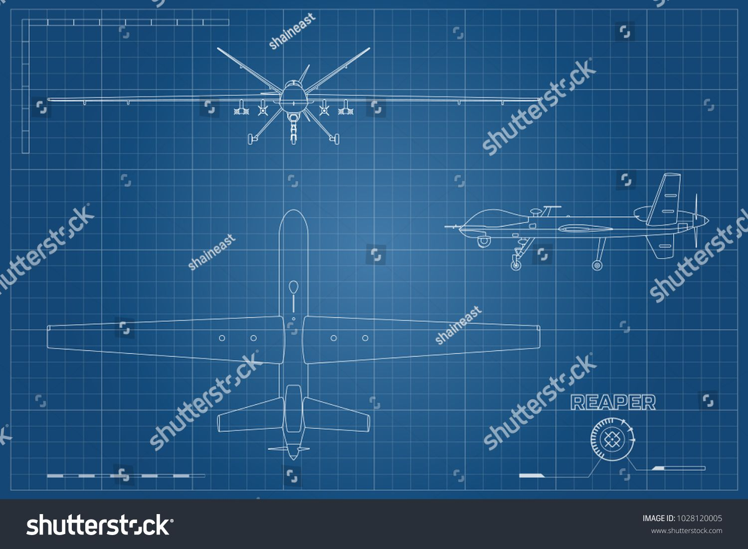 Blueprint of military drone in outline style top front
