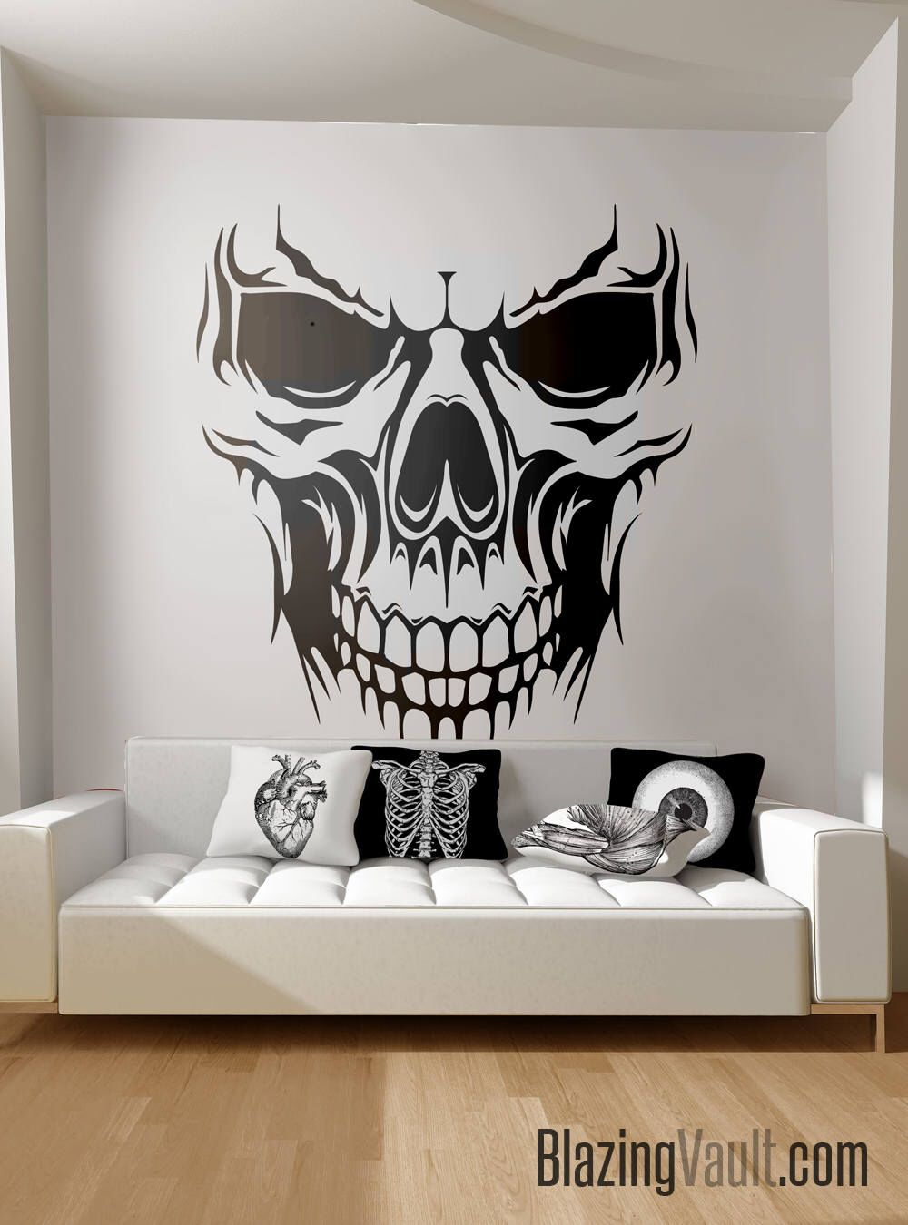 Skull wall decal skeleton bones biker biohazard radioactive danger hazardous nuclear zombie apocalypse poison death