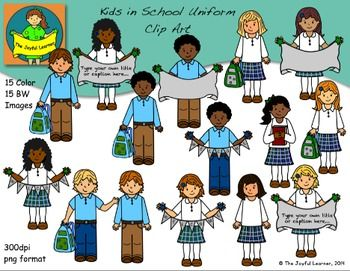 Clip Art Kids In School Uniform Set School Theme Unsorted