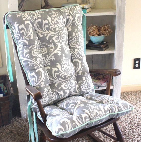 Custom Ozborne Damask Rocking Chair Cushions by MayberryandMain