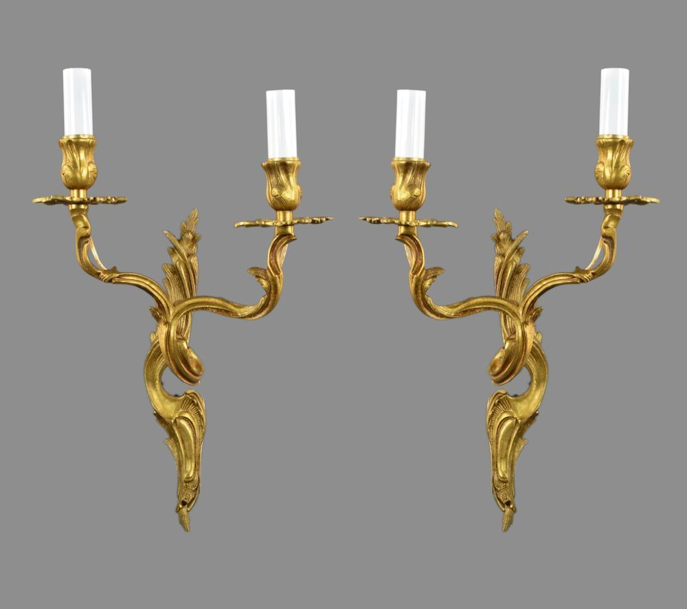 Pair french rococo gilded sconces c1920 vintage antique wall lights pair french rococo gilded sconces c1920 vintage antique wall lights gold aloadofball Gallery