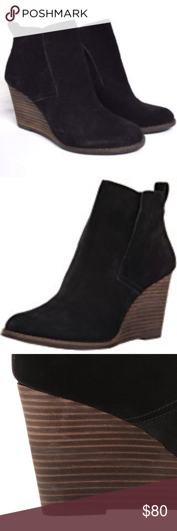 ff33779420a4 Lucky Brand Yoniana Wedge Bootie in Black - NWT Buttery soft suede wedge by Lucky  Brand