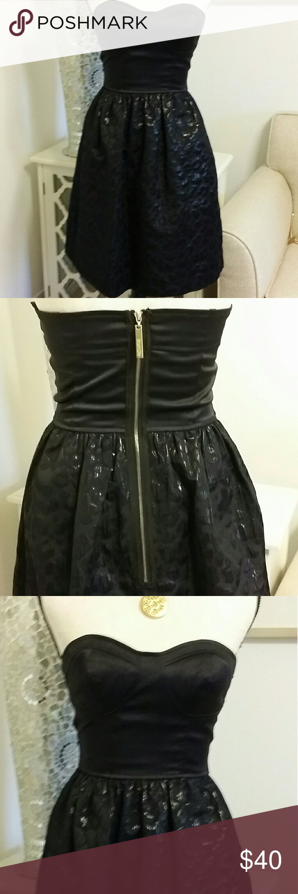 Kensie Black Cocktail Dress Gold Zipper Pinterest Strapless