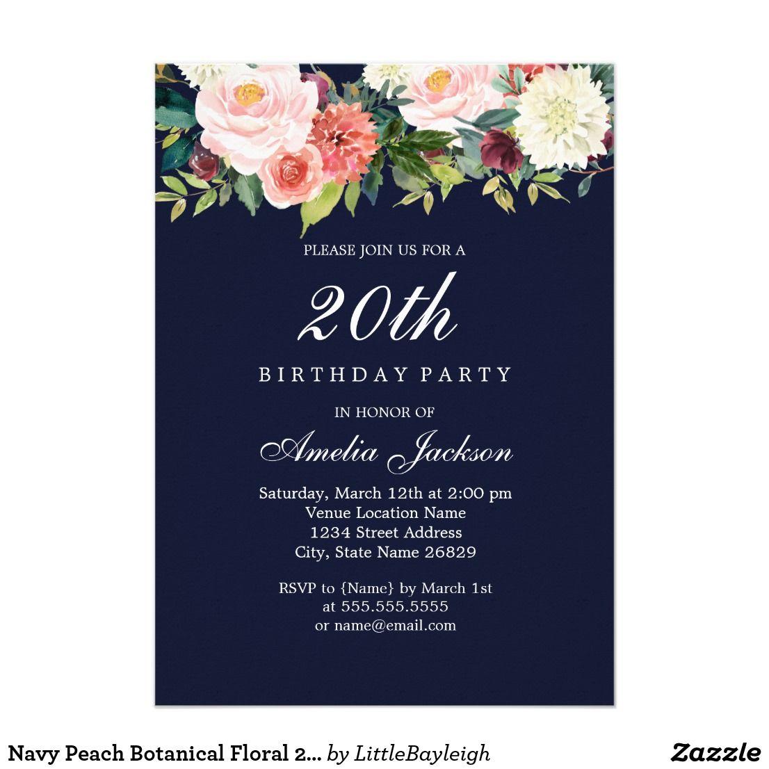 Navy Peach Botanical Floral 20th Birthday Card