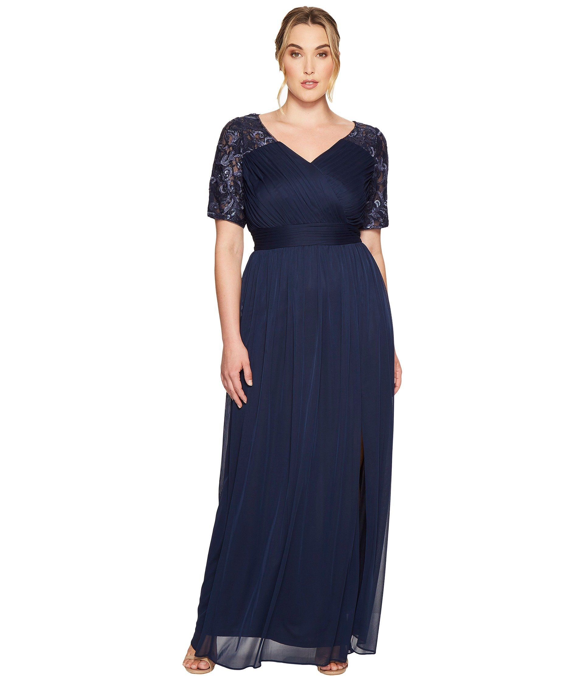ADRIANNA PAPELL Plus Size V-Neck Sequin and Stretch Tulle Gown w ...