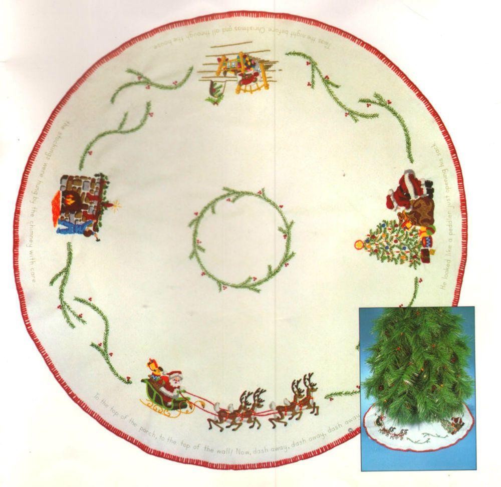 Vintage Sunset Stichery Happy Christmas Tree Skirt Crewel Embroidery Kit Sunsetstitchery Embroidery Kits Crewel Embroidery Kits Crewel Embroidery