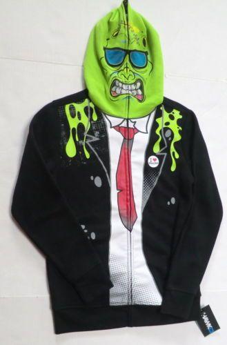 Boys-Medium-hoodie-costume-mask-brainer-zip-up-jacket-tony-hawk-monster 17db305a3