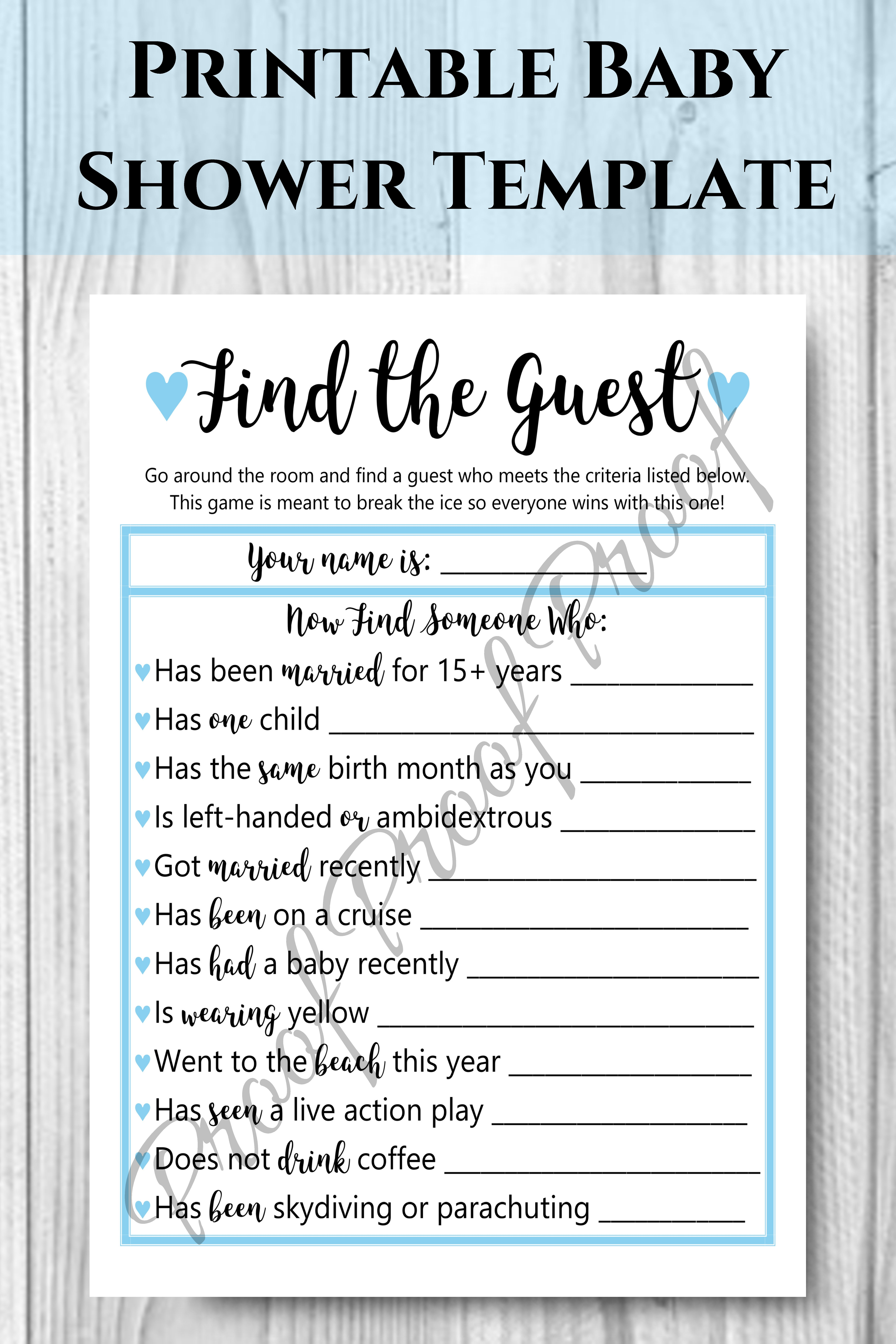 Find The Guest Baby Shower Game Boy Baby Shower Blue Themed Etsy Baby Boy Shower Deer Baby Shower Boy Baby Shower Games