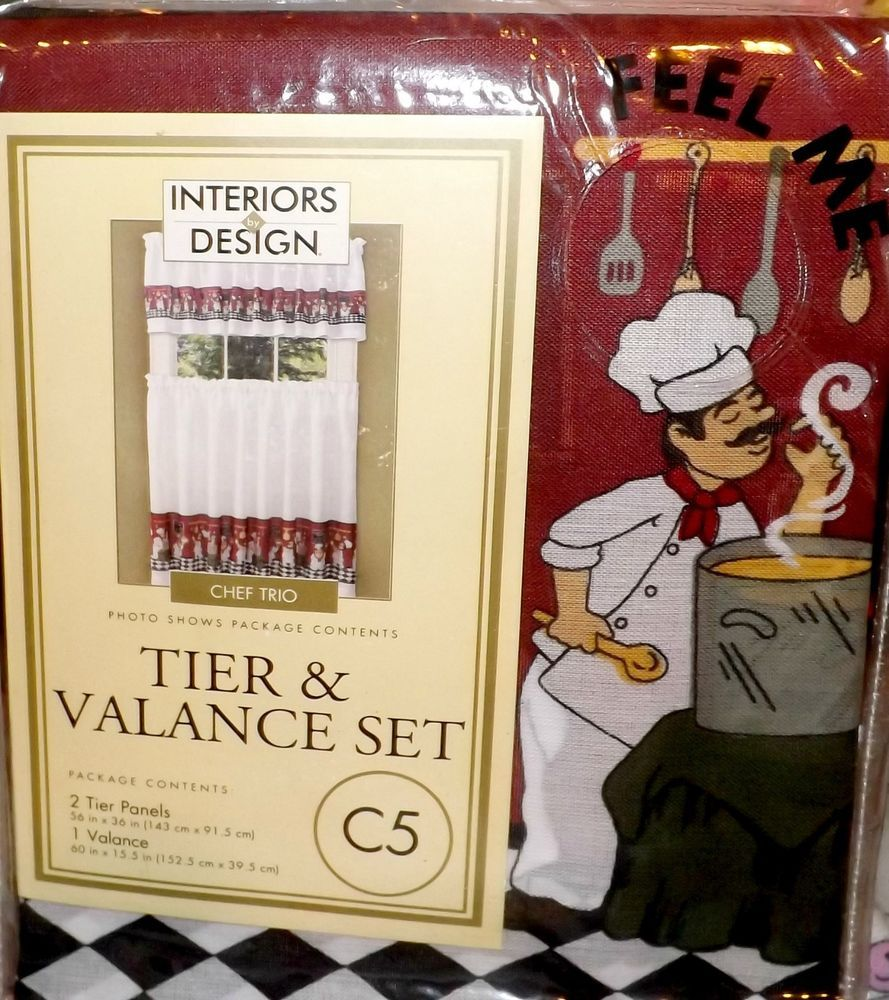Fat Chef Bistro Kitchen Curtains Tier U0026 Valance Set NEW Decor Window