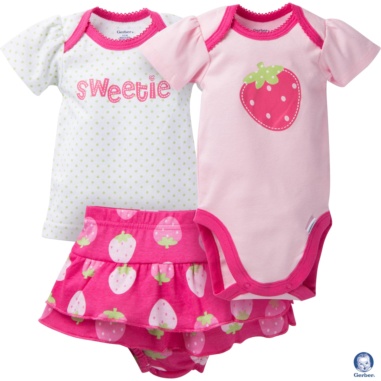 This fun and cute Gerber newborn baby girl 3 piece strawberry set