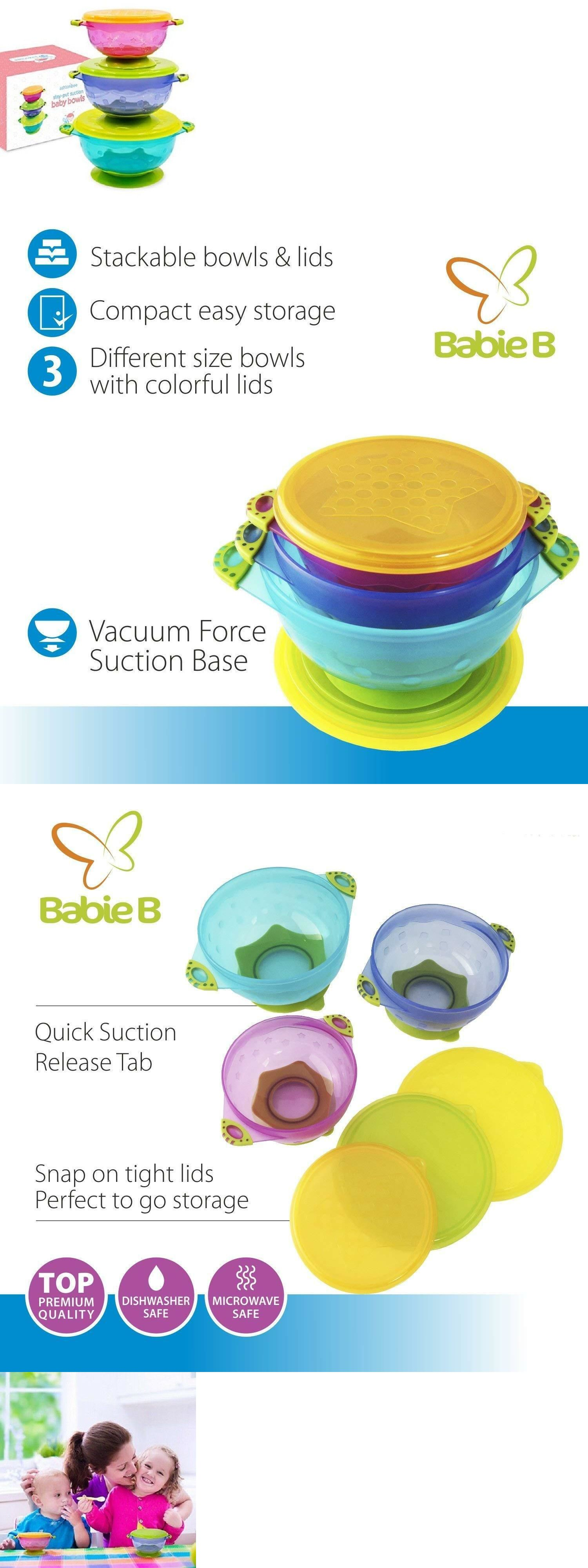 Stay-put Suction Bowl Feeding Set With Spill-proof Lid For Babies And Toddlers Cups, Dishes & Utensils