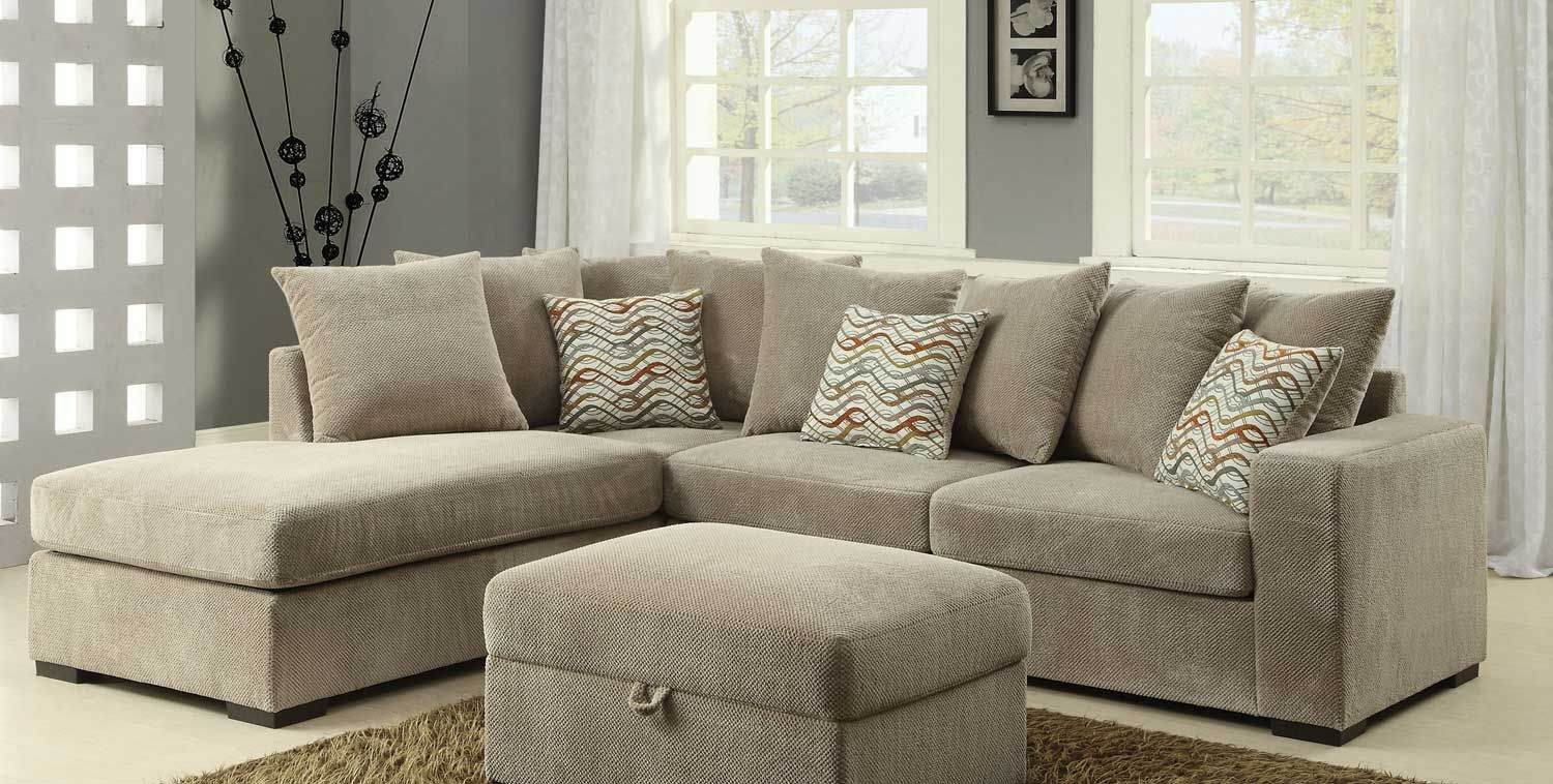 Coaster Olson Sectional Sofa - Taupe with Brown finish legs