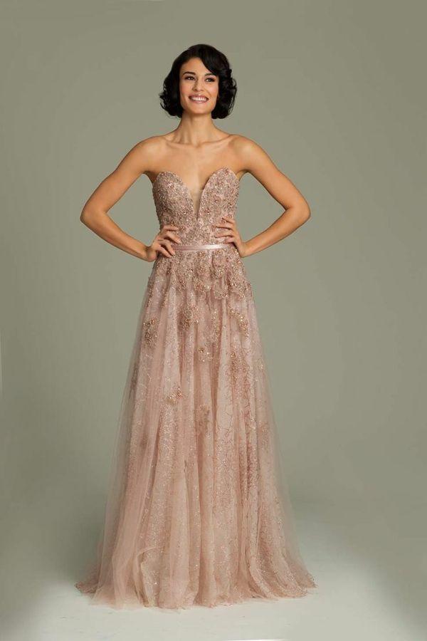 abendkleider zart lang gnstig altrosa  Hochzeitskleid  Langes abendkleid Lange kleider
