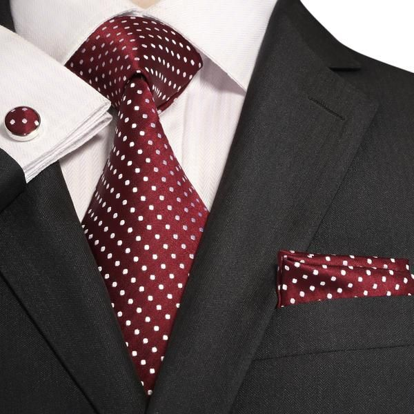 18ce6f9373b5 3PC Silk Necktie Set Color: Burgundy and White 59