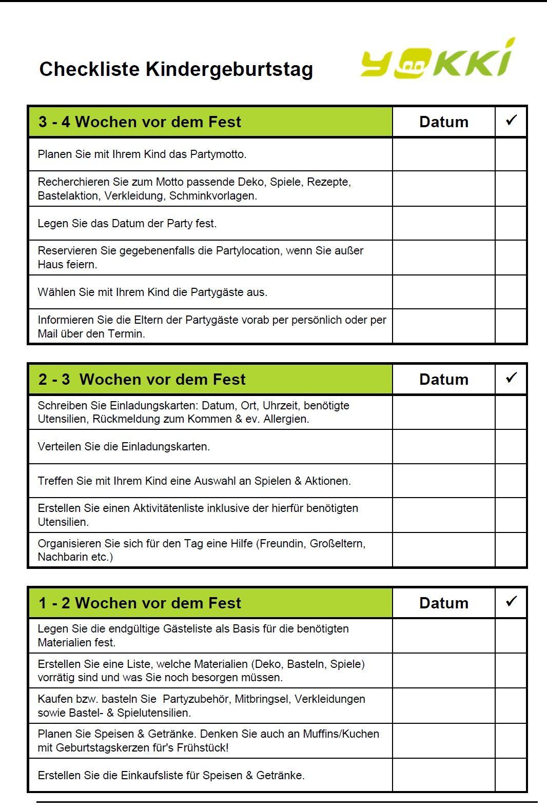 Checkliste Planung, Ideen und Spiele für den Kindergeburtstag von ...