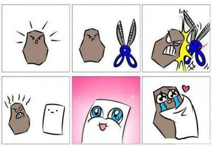haha cute!! i'm pretty sure this is how paper magically manages to beat rock :)