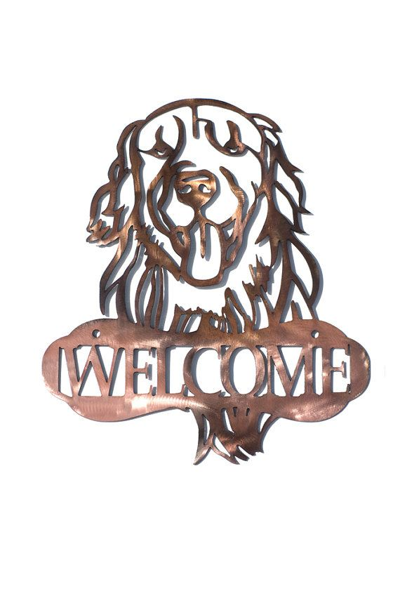 Golden Retriever Dog Welcome Sign CAN BE by VulcanixArt on Etsy