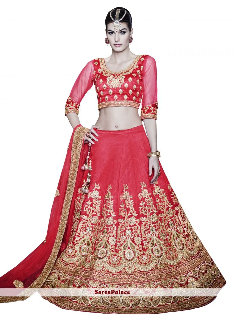 305148d0c85d07 Exceptional Patch Border Work Red A Line Lehenga Choli in 2019 ...