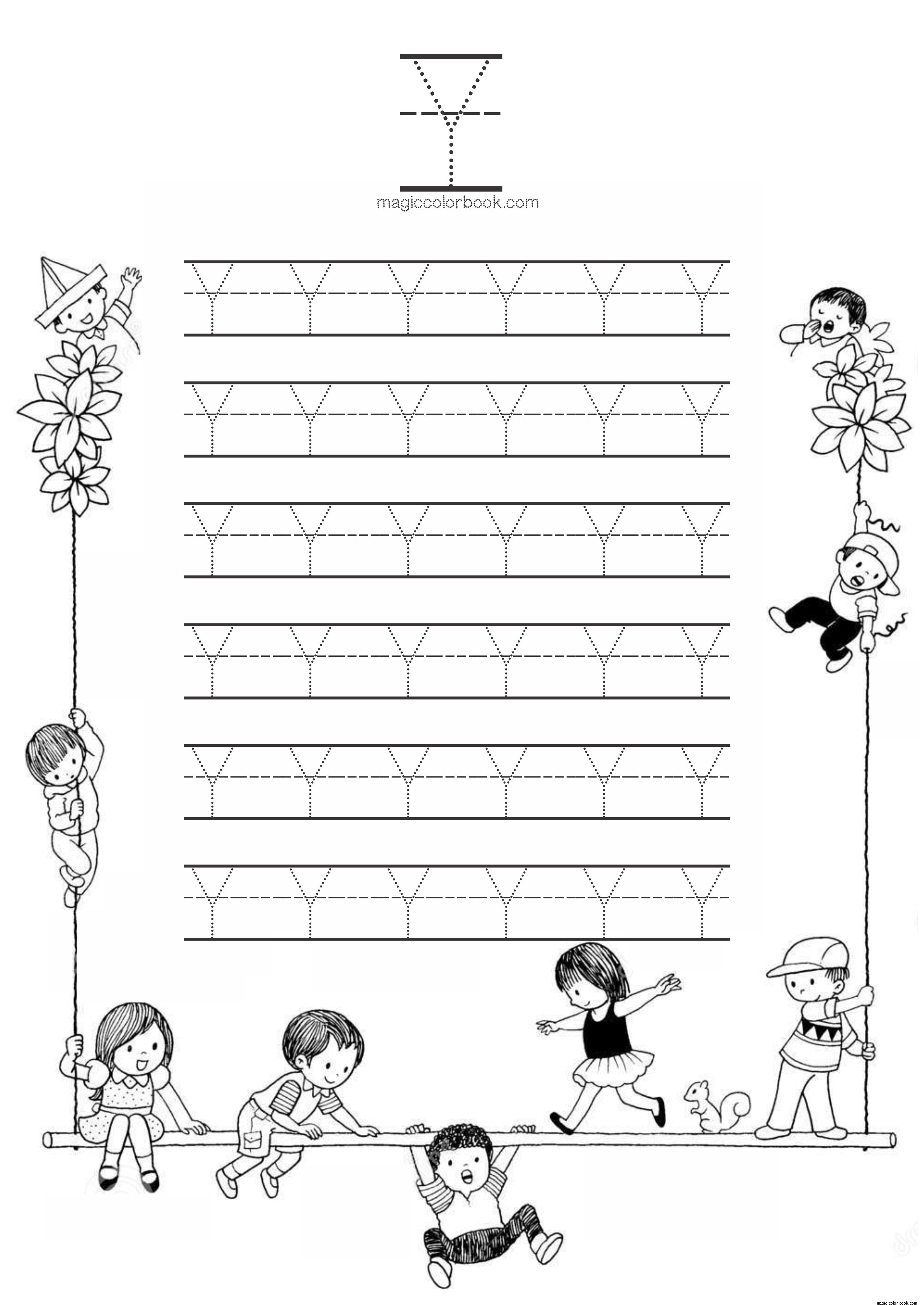 Alphabet Y Dots Worksheet Coloring Pages