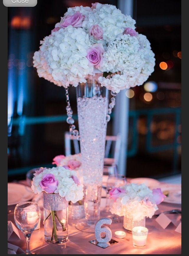 Beach glam wedding Pink blush silver white bling centerpieces ...