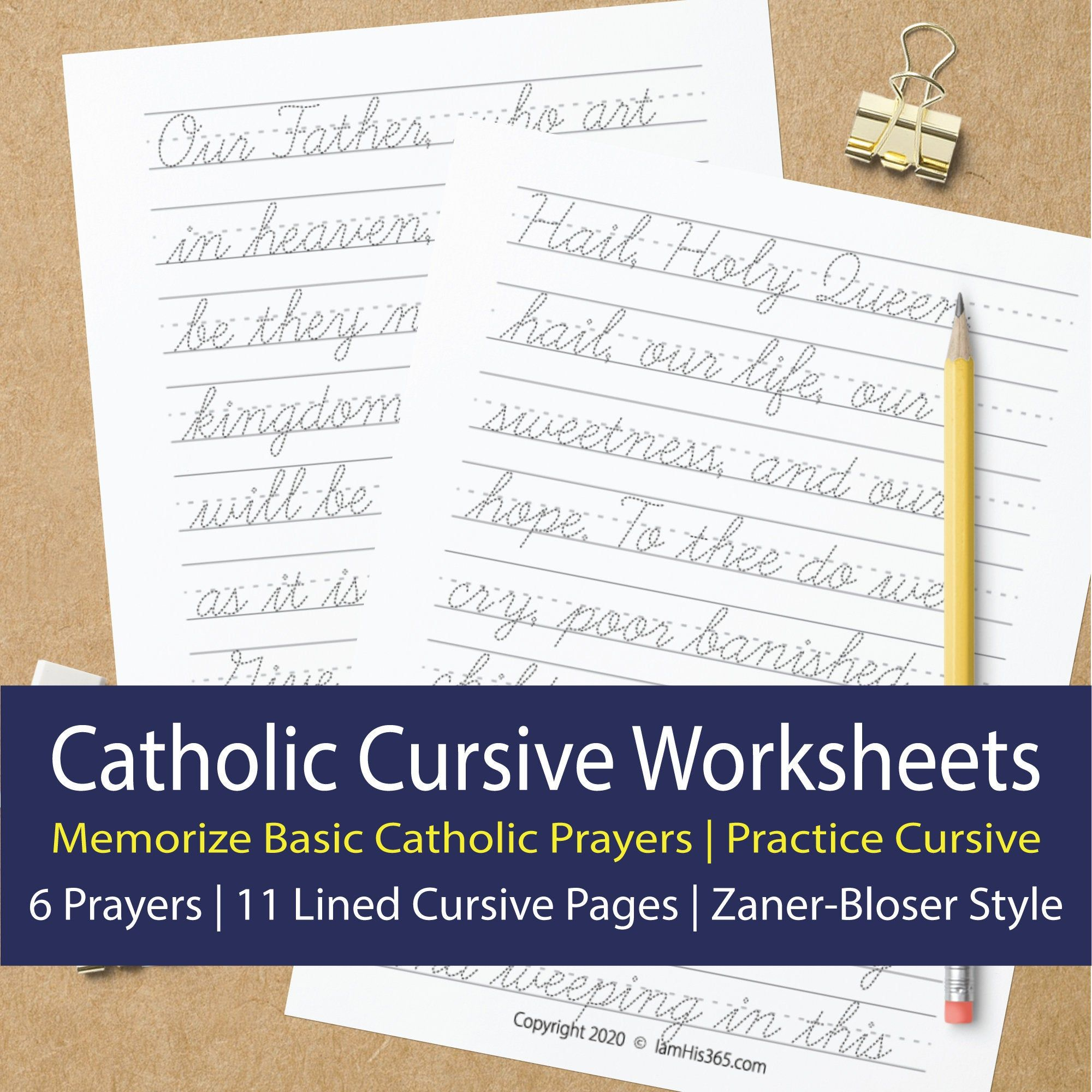 Catholic Cursive Worksheets For Memorizing 6 Basic Prayers Etsy Cursive Worksheets How To Memorize Things Catholic Education [ 2000 x 2000 Pixel ]