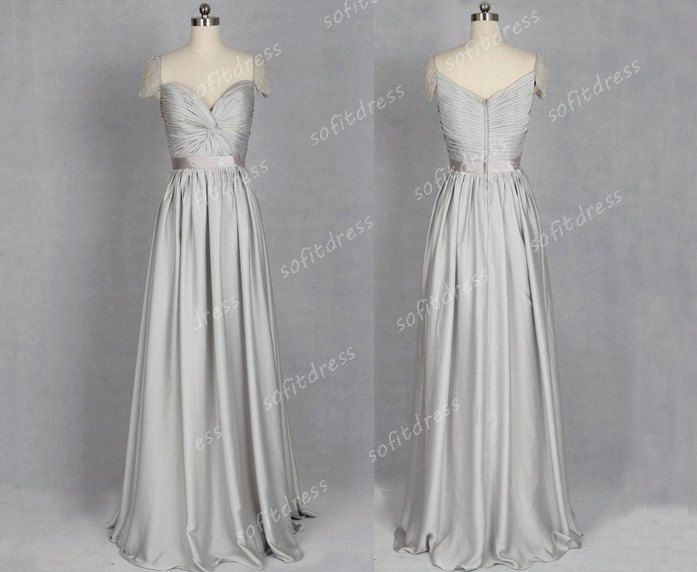 cap sleeve prom dress silver prom dresses long prom by sofitdress, $189.00