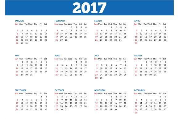 Simple calendar 2017 template | Simple, Calendar templates and ...