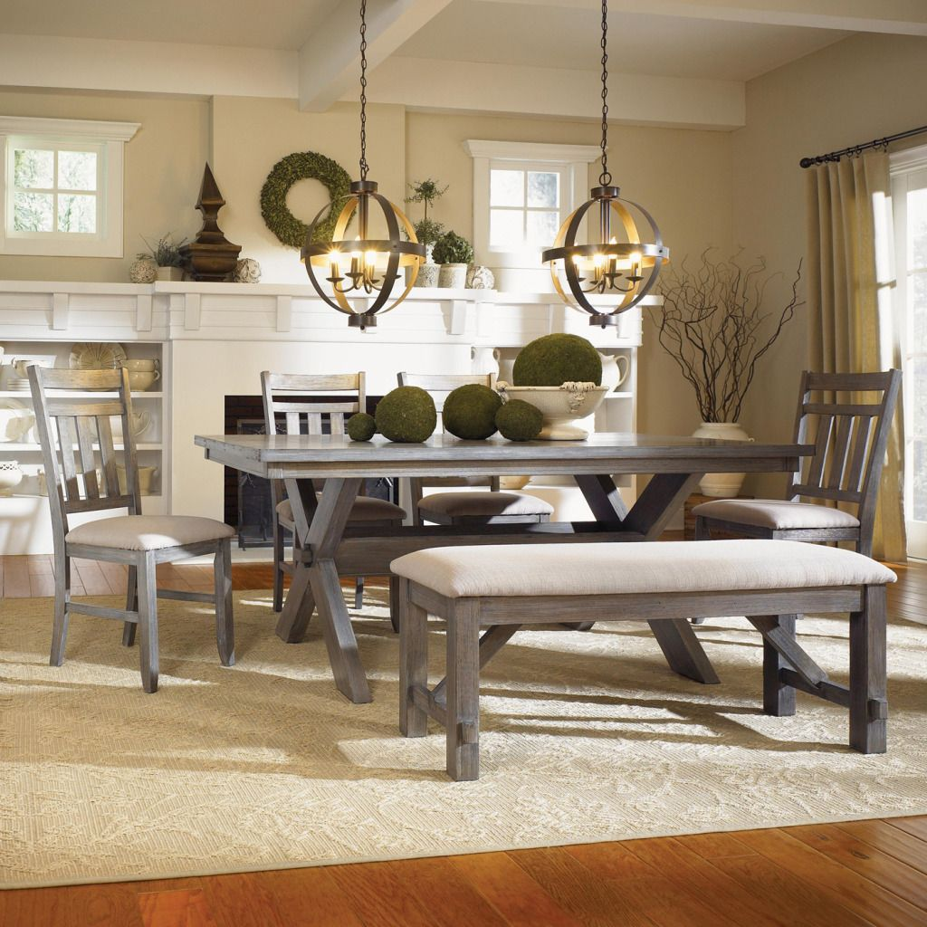 Powell Turino Grey Oak Dining Room Kitchen Table 4 Chairs & Bench ...